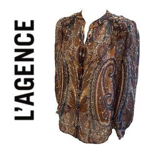 L'AGENCE paisley 100% silk shirt